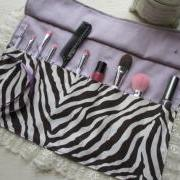 One of a Kind Handmade Brown and Cream Zebra Print Ruffled Lace Trimmed Makeup Brush Roll/ Paint Brush Roll